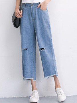 Ericdress Straight Nine Points Ripped Jeans