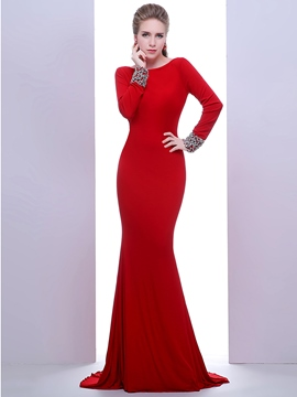 Ericdress Long Sleeves Mermaid Bateau Long Sleeves Beading Crystal Sweep Train Evening Dress