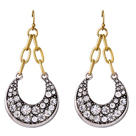 Ericdress Alloy Moon Diamante Pendant Earrings