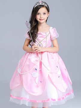 Ericdress Short Sleeve Appliques Mesh Girls Dress