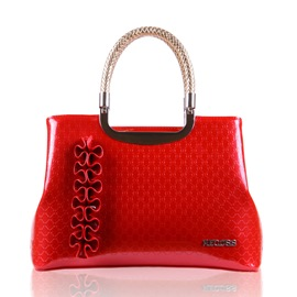 Ericdress Candy Color Embossed Patent Leather Handbag