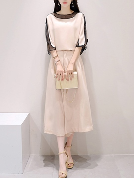 Ericdress Loose Hollow Blouse Suit