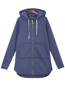 Ericdress Slim Solid Color Plus Size Hoodie