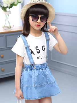Ericdress Denim Pleated Print Girls Outfits