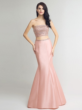 Ericdress Two Pieces Strapless Trumpet Beading Crystal Evening Dress