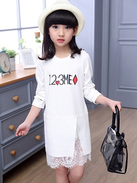 Ericdress Asymmetric Patchwork Print Girls Dresses