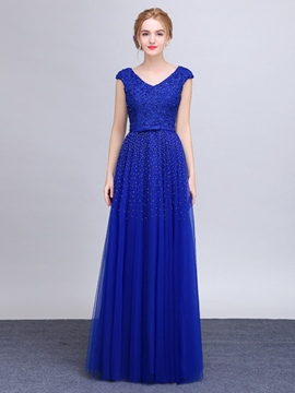 Ericdress A-Line V-Neck Cap Sleeves Beaded Lace Long Evening Dress