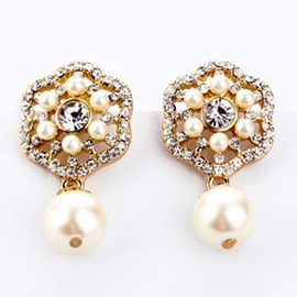 Ericdress Flower Pearl Earrings