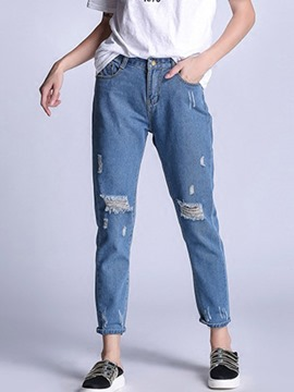 Ericdress Ripped Casual Jeans
