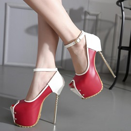 Ericdress Contrast Color Rivets Platform Stiletto Sandals
