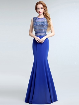 Ericdress A-Line Scoop Crystal Floor-Length Evening Dress
