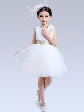 Ericdress Plain Floral Mesh Girls Dresses