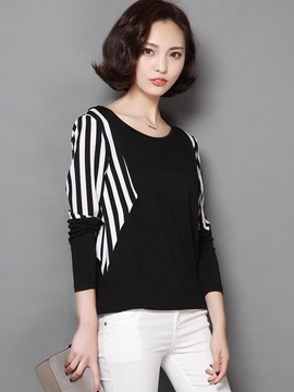Ericdress Plus Size Stripe Sleeve T-Shirt