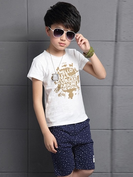 Ericdress Print Boys Shorts Outfit