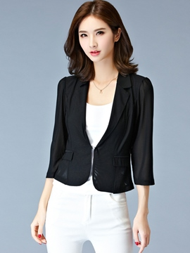 Ericdress Solid Color Polo Blazer