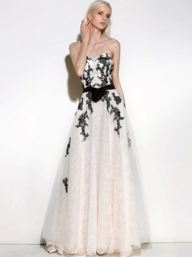 Ericdress A-Line Sweetheart Appliques Sashes Floor-Length Evening Dress