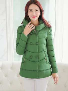 Ericdress Solid Color Double-Breasted Hooded Coat