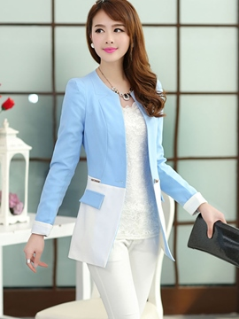 Ericdress Color Block Pocket Slim Blazer