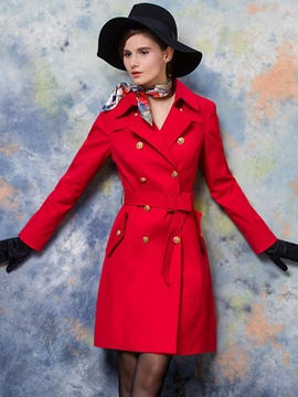 Ericdress Red Double-Breasted Blet Coat