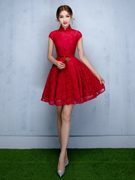 Ericdress A-Line High Neck Cap Sleeves Bowknot Lace Sashes Short Homecoming Dress