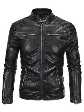 Ericdress Black PU Zip Stand Collar Slim Men's Jacket