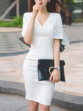 Ericdress White Swing Sheath Dress