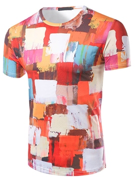 Ericdress Unique Paint Print Casual Short Sleeve Men's T-Shirt