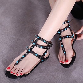 Ericdress Rivets Decorated Thong Flat Sandals