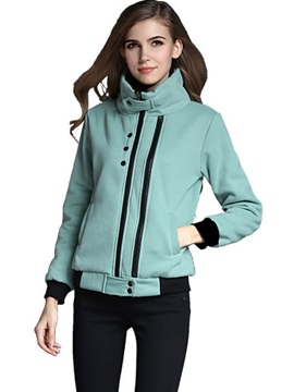 Ericdress Color Block Stand Collar Plus Size Hoodie
