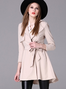 Ericdress Solid Color Slim Lace-Up Trenchcoat
