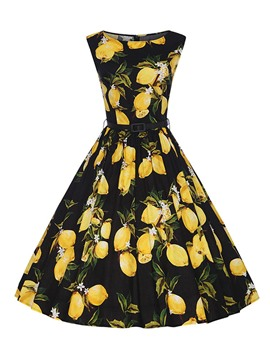 Ericdress Lemon Print Vintage Casual Dress