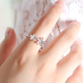Ericdress Silver Diamond Flower Ring