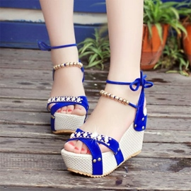 Ericdress Ethnic Rhinestone&beads Wedge Sandals