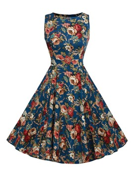 Ericdress Floral Print Sleeveless Vintage Casual Dress