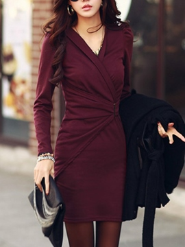 Ericdress Solid Color V-Neck Pleated Korean Style Bodycon Dress