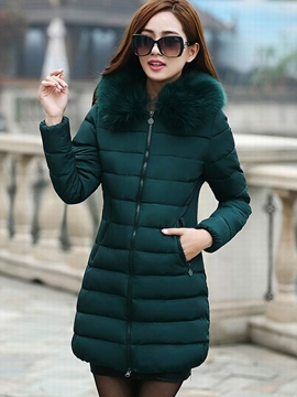 Ericdress Solid Color Slim Plus Size Coat