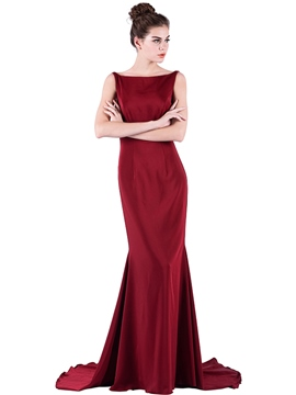 Ericdress Trumpet Bateau Backless Court Train Evening Dress