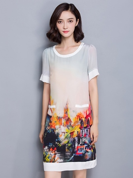 Ericdress Print Patchwork Straight Casual Dress