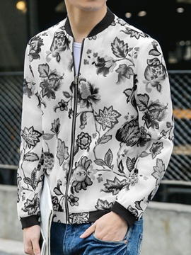Ericdress Flower Print Zip Casual Men's Jacket