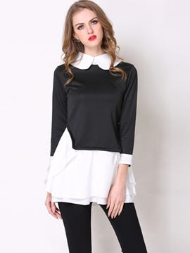 Ericdress Slim Color Block Casual Blouse
