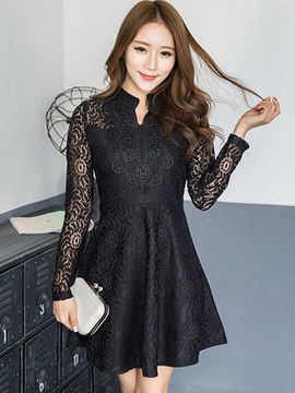 Ericdress Solid Color Long Sleeve V-Neck Casual Dress