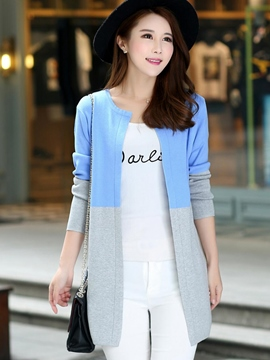 Ericdress Color Block Cardigan Casual Knitwear