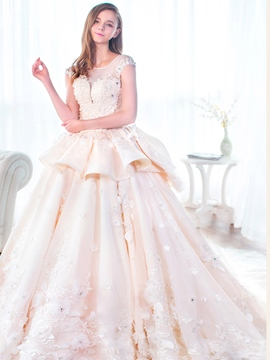 Ericdress Beautiful Scoop Cap Sleeves Ball Gown Wedding Dress
