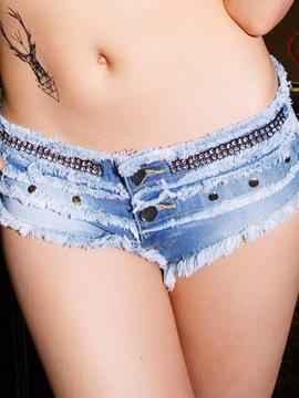Ericdress Raw Edges Low Waist Denim Shorts