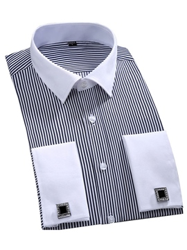Ericdress Stripe Long Sleeve Vogue Men's Dress Shirt