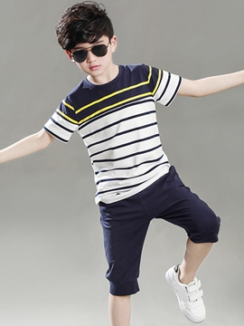 Ericdress Color Block Stripe Boys Sports Outfit
