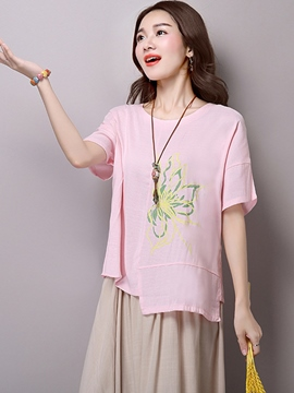 Ericdress Loose Printed Asymmetric T-Shirt