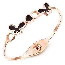 Ericdress Black Bowknot Rose Gold Bracelet