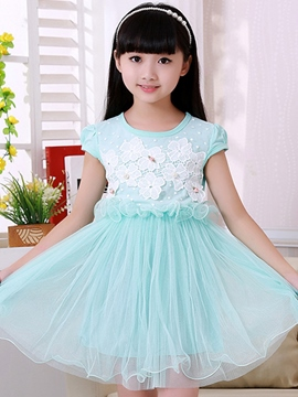 Ericdress Floral Short Sleeve Patchwork Girls Dress