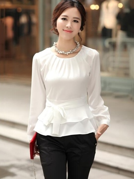 Ericdress Tie Bow Front Slim Blouse